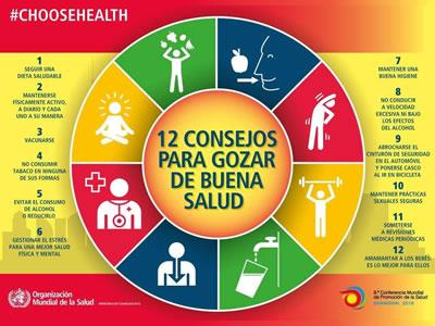 OMS: 12 consejos para gozar de buena salud